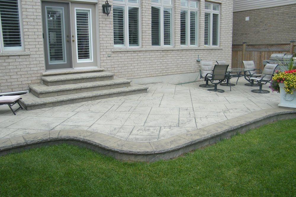 Stamped patio two tone